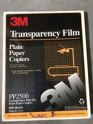Transparency Film Sheets For Plain Paper Copiers 3M 100 Count Sealed Pp2500
