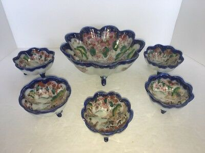ANTIQUE HAND PAINTED JAPANESE SATSUMA KUTANI GEISHA Soy Sauce Bowls & Rice Bowl