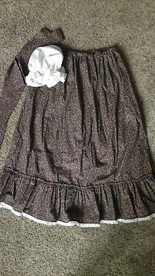 Colonial, prairie style costume, Reenactment Skirt And Cap size XL