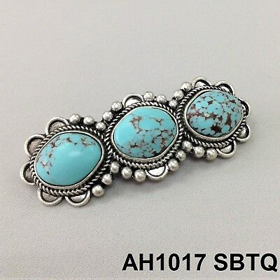 Western Style Vintage Silver Finish Triple Turquoise Stones French Hair Clip Bar