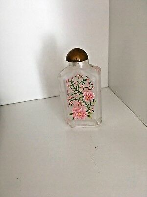 Vintage Chinese Frosted Interior Inside Painted Glass Snuff Bottle Pink Flowers