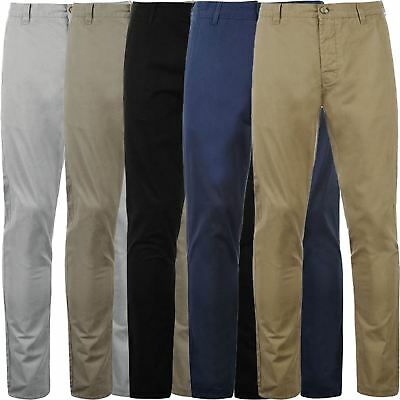 Mens Active Elasticated Pants Chino Trousers Straight Formal Work Cotton Casual