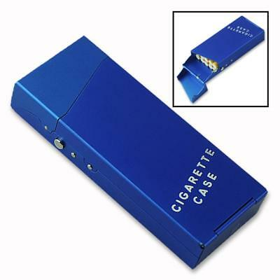 Aluminum Cigar Cigarette Case Tobacco Holder Pocket Box Storage Container Blue..
