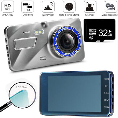 32GB HD 1080P In Car DVR Dual Lens Dash Cam Video Camera Recorder Night Vision