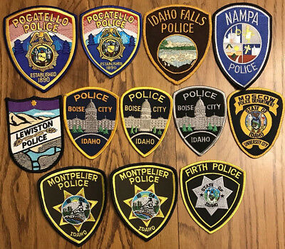 Idaho ID Moscow Montpelier Pocatello Boise Firth Police Sheriff 12 Patch Lot