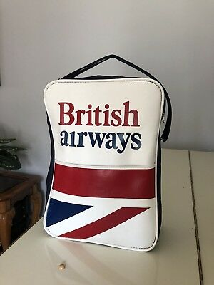 Vintage British Airways Carry On Bag Airline Luggage Tote  Red White Blue