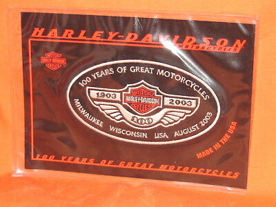 HARLEY DAVIDSON LG. OVAL PATCH 100 Years of Great Motorcycles 1903-2003 NOS EXC