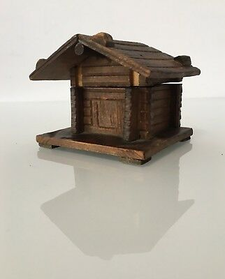 Vintage Wood Log Cabin with Glass Ink Well - Black Forest