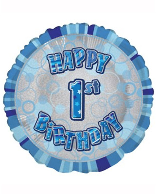 Blue Glitz Happy Birthday 18 Holographic Foil Balloons