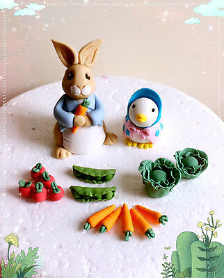 Edible handmade Peter Rabbit and Jemima Puddle Duck Style  Cake Topper set