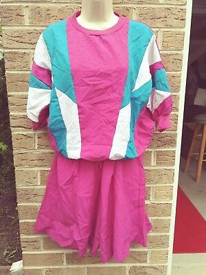 1980's TRACK SUIT COLOR BLOCK TOP SHORTS SZ M FRESH PRINCE VINTAGE HIP HOP