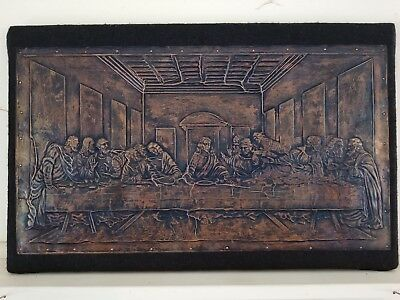 Vintage Hand hammered copper(?) last supper relief plaque