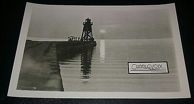 Lighthouse at Sunset Charlevoix Michigan RPPC Real Photo Postcard