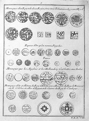 ca. 1750 Münzen coins Geld Japan China Asia Kupferstich antique print