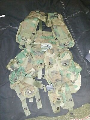 US Army Military Tactical Load Bearing Equipment Vest Woodland Surplus