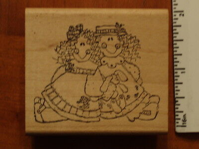 TWO HAPPY GIRLS or DOLLS with BUNNY Rubber Stamp by IMAGINATIONS! - So Cute!