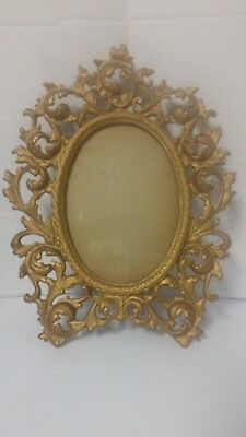 """Antique Vintage Wilton Ornate Cast Iron 12"""" Oval Standing Picture Frame Rococo"""