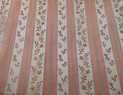 Vintage French Salmon Pink Lisere Floral Stripe Satin Brocade Jacquard Fabric ~