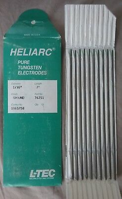 "L-TEC Heliarc PURE Tungsten Electrodes 1/16""X7 Qty 10 Ground Finish"