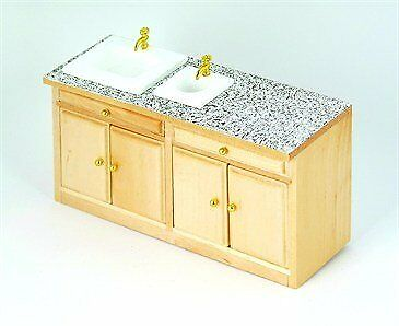 1:12 Scale Dolls House Miniatures Pine Modern Sink Unit DF844