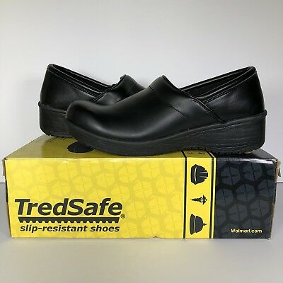 Tredsafe Womens 11 Zest Shoes Clogs Black Leather Slip Resistant Restaurant Work