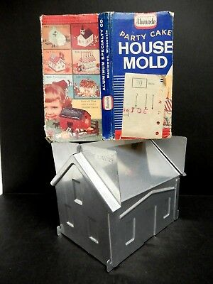 Vintage Alumode Party Cake House Mold with Instructions Birthday Holidays