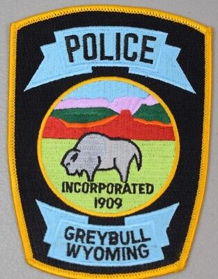 Embroidered Patch Greybull WY Police - Buffalo Wildlife, Multi-Color 4 x 51/2""