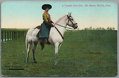 Bliss Oklahoma - Typical Cow Girl - Mabel Pettijohn - 101 Ranch 1910's Postcard