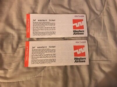 Western Airlines Paper Tickets Unused 2
