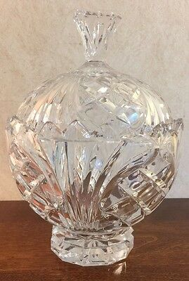 """Vintage Domed Acorn Crystal Covered Candy Dish Round Glass w/Lid Sawtooth 9"""""""