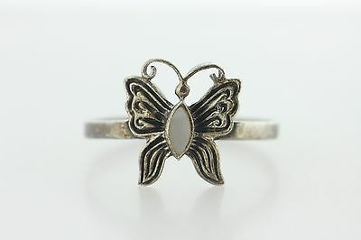 Vintage Signed JC 925 Sterling Silver Mother of Pearl Butterfly Ring - Size 10