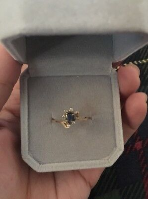 14k Yellow Gold Vintage Sapphire And Diamond Ring 5 Marquis Stacking