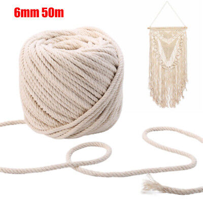 6mm 50m Macrame Rope Natural Beige Cotton Twisted Cord Artisan Hand Craft New PQ