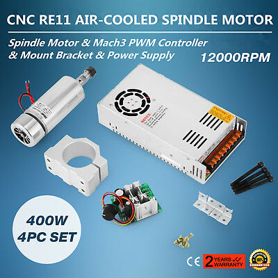 CNC 400W Air-cooled Spindle Motor 4pcs Set Tool Kit Engraving >2Megohm ON SALE
