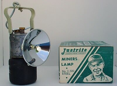 Miners JUSTRITE No. 2-500 CARBIDE HAND LAMP LANTERN w/ Box NOS MINT CONDITION!!