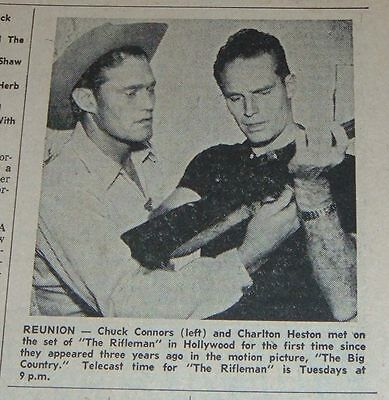 1960 TV AD~CHUCK CONNERS & CHARLTON HESTON in THE RIFLEMAN WESTERN SET