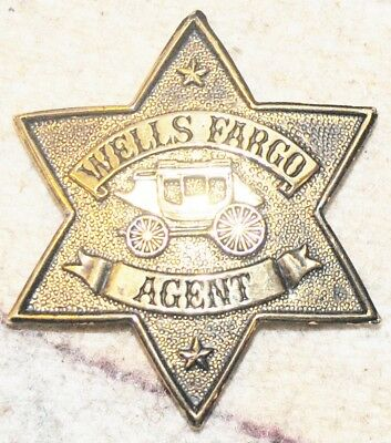 "Wells Fargo Agent Star Badge Pin Gold-Tone 2.5"" heavy metal  FREE SHIPPING"