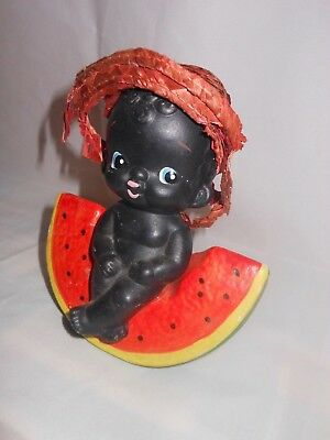 Black Americana Vintage Little Boy Sitting On Watermelon Bank Made in Japan