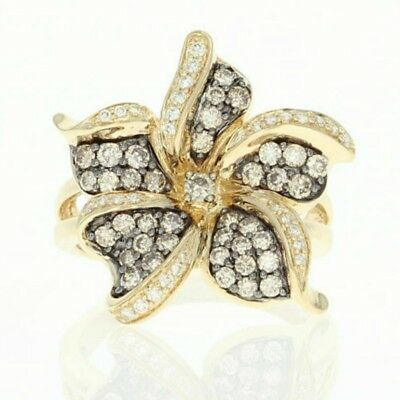 Vintage 14K Yellow Gold Plated White Topaz Florald Flower Ring Women Jewelry New