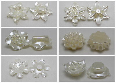 Ivory Acrylic Large Pearl Flower Beads Cabochons Sew On Button Beads
