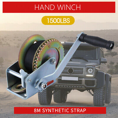 Hand Winch 1500lbs/680Kg 2-Gears 8m Synthetic Cable Boat Trailer 4WD Winch1500LB