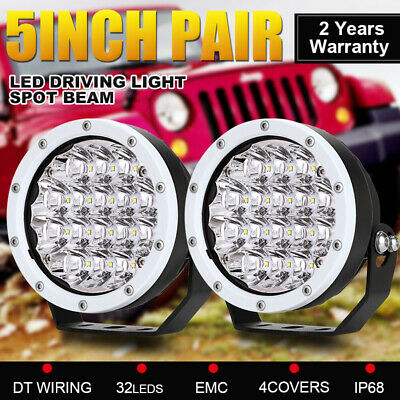 2x 5inch 21600W White Cree LED Driving Lights Spotlights Work Offroad Boat 4x4
