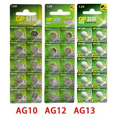 10x GP 1.5V Button Cell Battery for Watch AG10 AG12 AG13 Alkaline Button Blister