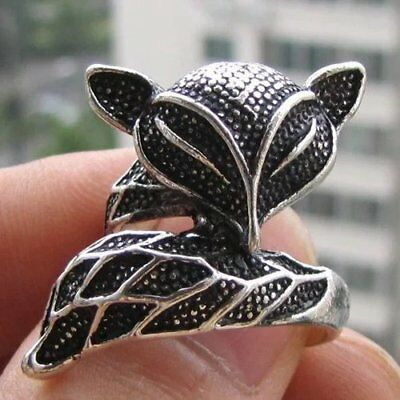 Cool Exquisite Vintage Tribal Tibet silver carved fox ring Size 7-8