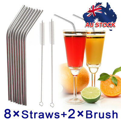 8x Reusable Stainless Steel Metal Drinking Straws Bent Washable With 2 Brushes