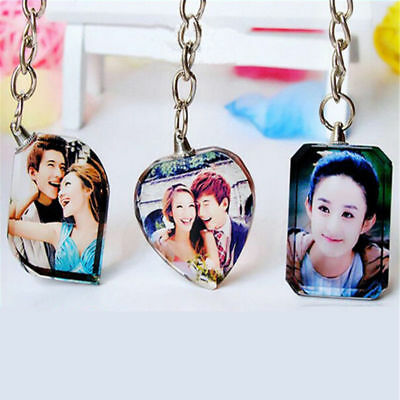 Custom Personalized DIY Tag Engrave Crystal w/your Photo Key Chains Luxury Gift
