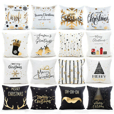 "18"" Merry Christmas Pillow Pillowcase Sofa Home Decor Xmas Throw Cushion Cover"
