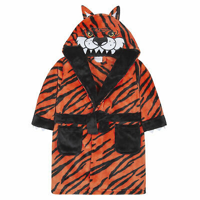Boys Tiger Dressing Gown Robe Plush Fleece Soft Animal Toddler Hooded Novelty
