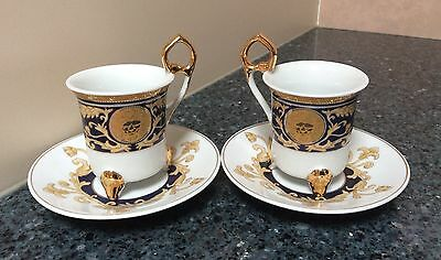 Bella Bacci Blue & Gold Two Demitasse Cup & Saucer Sets  Made in China