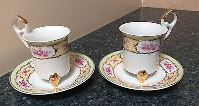 Bella Bacci Pink Flowers Two Demitasse Cup & Saucer Sets  Made in China